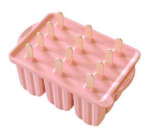 Popsicle Molds Silicone Ice Pop Mold - Ice Cream Containers with 50 Popsicle Sticks Pink