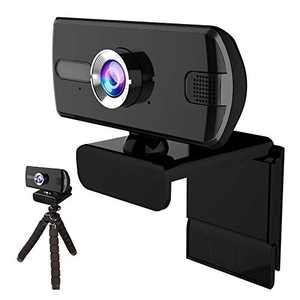 1080P Webcam with Microphone, Ureegle HD USB Web Cameral Full Video Cam with Tripod for Laptop, Desktop, Computer, Skype, Video Calling, Conferencing, Recording - Black