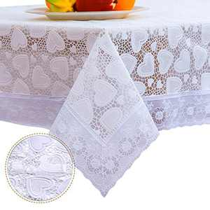 DITAO White Waterproof Vinyl Lace Tablecloth Oblong Easy Wipe Table Cloth for Party Wedding, 59 x 90 inch