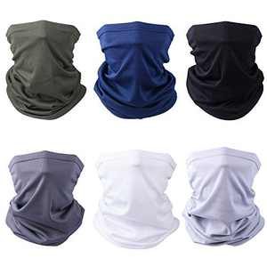Facio Face Mask Bandanas - 6 Pack Multifunctional Outdoor Sports Face Mask Neck Gaiter, Sun UV Protection Face Cover Dustproof Windproof Scarf for Men Women Cycling Hiking Fishing, White, Green, Blue, Grey, Dark Grey, Black, Large