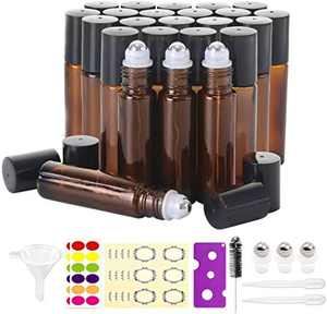 YEYUNTO 24 Pack Essential Oil Roller Bottles 10ml,Roller Balls For Essential Oils,Roller bottles for oils(3 Extra Roller Balls, 54 Pieces Labels, Opener, Funnel, Dropper, Brush Included)