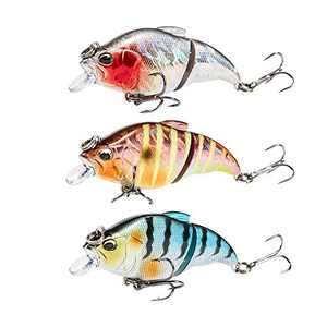 JOHNCOO Double Jointed Swimbaits Vibration Hard Lures Artificial Baits for Bass Trout Walleye Fishing 3pcs/Pack