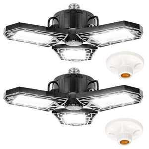HUOSUC LED Garage Lights, 80W High Bay Lighting, E26/E27 8000LM Deformable LED Garage Ceiling Lights with 3 Adjustable Panels, 6500K Daylight LED Shop Lights for Garage Basement Workshop(2 Pack)