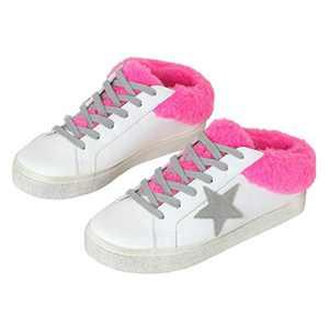 Ruanyu Womens Platform Star Sneaker Fleece Lace Up Fashion Slip On Comfortable Walking Shoes Pink