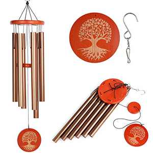 Wind Chimes for Outside, Memorial 36 Inch WindChimes Sympathy Gifts for Loss of Loved One Outdoor Garden with 6 Metal Tubes and Hook - Bronze