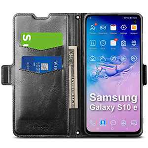 Aunote Samsung Galaxy S10e Case, Samsung S10e Phone Case, Slim Flip/Folio Cover – Wallet Style: Made of PU Leather Shell (Lightweight, Feels Good) and TPU Inner - Full Protection. Black