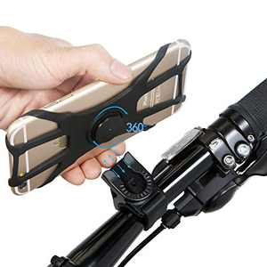 """VOKUA 2Pcs Detachable Bike Phone Mount,360° Rotation Silicone Phone Bike Holder,Face Recognition&Touch ID,Bike Phone Stand for iPhone 11/Pro/Max/XR/XS Max/8/7/ 6/6s Plus,Galaxy S20/S9, 4.0""""-6.5"""" Phone"""