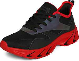 BRONAX Men's Casual Tennis Running Sneakers, Size 9.5 Comfortable Cushioning Athletic Shoes for Walking Training Sport Fitness Workout Male Calzado Hombre Black Red 44