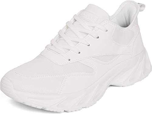 BRONAX Men's Casual Tennis Running Sneakers, Size 9.5 Comfortable Cushioning Athletic Shoes for Walking Training Sport Fitness Workout Male Calzado Hombre Blanco All White 44