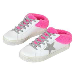 Ruanyu Womens Platform Star Sneaker Fleece Lace Up Fashion Slip On Comfortable Walking Shoes Pink