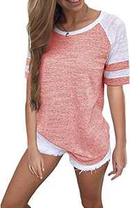Yidarton Women's Color Block Short Sleeve T Shirt Casual Round Neck Tunic Tops(Pink,M)