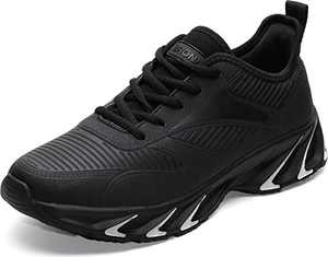 BRONAX Men's Leather Tennis Running Sneaker, Size 9.5 Comfortable Cushioning Athletic Shoes for Walking Training Sport Fitness Workout Male Calzado Hombre Negro All Black 44