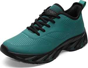BRONAX Men's Leather Tennis Running Sneaker, Size 9 Lightweight Casual Lace Up Walking Sport Fitness Workout Athletic Shoes Tenis para Hombre deportivos for Male Verde Green 43