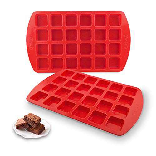 Bite-Size Silicone Brownie Pan with Dividers - Set of 2 - SILIVO Brownie Baking Pan, Non-Stick Silicone Molds for Brownie Bites, Keto Fat Bombs, Fudges, Chocolates and Candies - 24 Cavity
