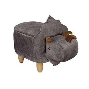 Animal Storage Ottoman, Upholstered Footrest Stool, Gray Dinosaur Shape for Kids Ride-on, Cute Decorative Stool for Living Room/Kids Room, 1 Pack
