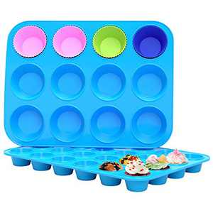 Silicone Muffin Pan Set - 12 Cups & 24 Cups Reusable Premium Silicone Cupcake Pan,Durable Non-Stick Muffin Cake Tray,Food Grade Silicone Baking Molds
