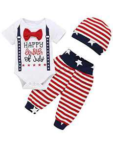 Shalofer Baby Boys Fourth of July Bodysuit Toddler American Flag Pant Clothing Set with Hat (White,12-18 Months)
