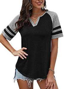 Yidarton Women's Color Block Short Sleeve T Shirt Casual V Neck Tunic Tops(Black,M)