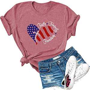Dauocie Womens Faith Family Freedom Letter Print Short Sleeve T Shirt Lovely USA American Flag Graphic Tees Tops Pink