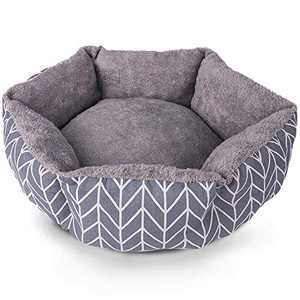 Cat Bed for Indoor Cats, 21 in Reversible Round Small Pet Bed, Super Soft Plush Liner Durable Oxford Fabric Machine Washable Comfortable Cushion Pet Beds, Self Warming Indoor Cat Small Dog Bed