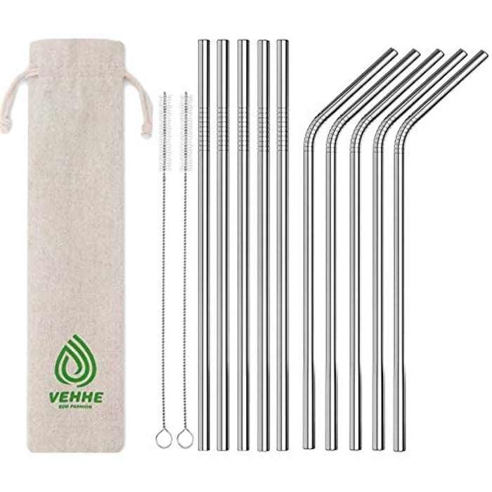 """VEHHE Metal Straw FDA Approved Resuable Straw 10.5"""" Ultra Long Stainless Steel Straw with Cleaning Brush for 20/30 Oz Yeti RTIC SIC Ozark Trail Tumblers (5Straight