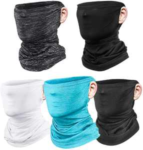 5 Pieces Multifunctional Neck Gaiter Face Mask SGODDE Bandana Face Mask Breathable Balaclava Headwear for Men Neck Scarf for Outdoor Camping Fishing Cycling Jogging,UV Protection Cooling