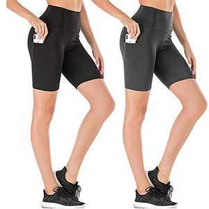 yeuG High Waist Out Pocket Yoga Short Tummy Control Workout Running Athletic Non See-Through Yoga Shorts (Black+Dark Grey, Small)