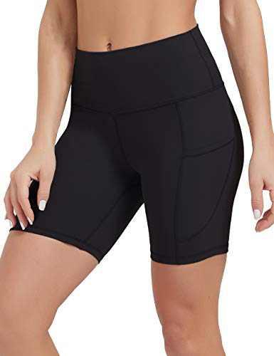 DEMOZU Women's 6 Inch High Waist Bike Yoga Shorts Lightweight Buttery Soft Workout Running Athletic Exercise Shorts with Pockets, Black, XL