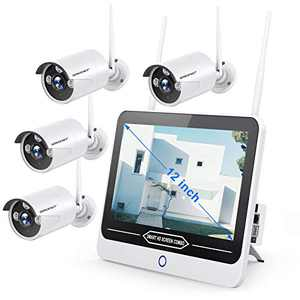 """【2021 NEW-12INCH】SMONET All in One with 12"""" Monitor 1080P Security Camera System Wireless,8-Channel Indoor Outdoor Home Camera System,4pcs 2.0MP(1080P) Waterproof Bullet IP Cameras,P2P,Free APP,NO HDD"""