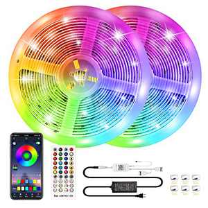 Bluetooth Led Strip Lights 32.8ft Color Changing RGB Light Strips Music Sync, 300 LEDs SMD 5050 APP Controlled Neon Strip Light for Bedroom TV Gaming Room Party