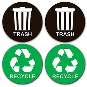 """Recycle Sticker for Trash Can - Perfect Bin Labels - 5"""" by 5"""" - Ideal Signs for use on Home or Office Refuse Bins - Suitable for Indoor and Outdoor use - 2 Pack - Green for Recycling, Black for Trash"""