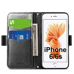 Aunote iPhone 6/6S Case, iPhone 6/6S Phone Case, Ultra Slim Flip/Folio Cover - Wallet Style: Made of PU Leather Shell (Lightweight, Feels Good) and TPU Inner - Provide Full Body Protection. Black