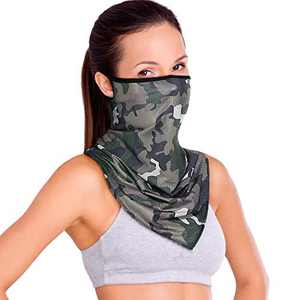 Face Bandana Mask Neck Gaiter Cooling Face Scarf for Women/Men Washable Mask with Adjustable Ear Loops Dust Wind UV Sun Protection (Color-5)