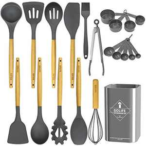GOLIFE Silicone Cooking Utensil Set, Kitchen Utensils 20 PCS Cooking Utensil Set, Non-stick Heat Resistant Cookware, Silicone Wooden Kitchen Tool Set Gifts (Black Gray)