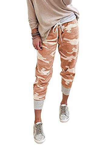 Actloe Women Camo Printed Casual Elastic Waist Front Drawstring Pants Jogger Pants Orange Small