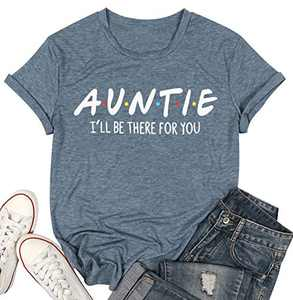 Women Auntie T-Shirt Aunt Vibes Shirt Cute Aunt Gifts Tee Shirt Short Sleeve Casual Shirt (Grey-Green, M)