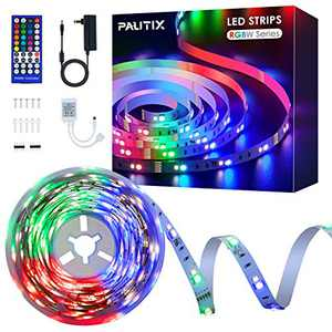 LED Strip Lights RGB+White,PAUTIX UL Listed 16.4ft Color Changing Light Strips with Remote 300LEDs Multicolor Flexible Tape Lights Kit for TV, Room, Bedroom, Kitchen, Party DIY Decoration