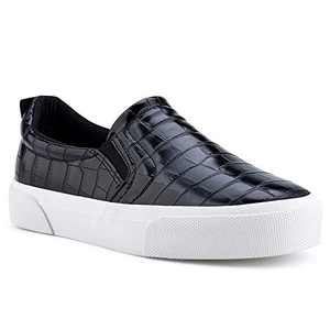 jenn-ardor Women's Slip On Sneakers Perforated/Quilted Casual Shoes Fashion Comfortable Walking Flats S.Black