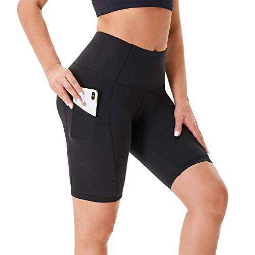 """NexiEpoch Biker Shorts for Women with Pockets - 8"""" High Waisted Plus Size Spandex Shorts for Summer Running Yoga Workout"""