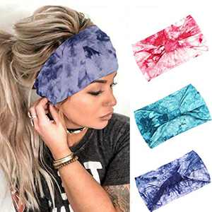 Urieo Boho Wide Headbands Blue Yoga Tie Dye Hair Bands Elastic Non Slip Head Wraps Running Workout for Women and Girls (Pack of 3)