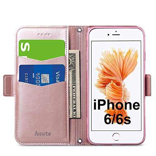 Aunote iPhone 6/6S Wallet Case, iPhone 6/6S Phone Case, Ultra Slim Flip/Folio Cover – Book Style: Made of PU Leather Shell (Lightweight, Feels Good) and TPU Inner - Provide Full Protection. Rose Gold