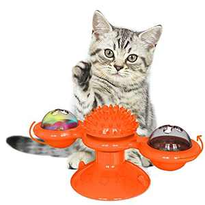 KZOBYD Windmill Cat Toy Turntable Teasing Toys with LED/Catnip Ball Kitten Interactive Toy with Suction Cup Base Washable Rotating Massage Scratching Tickle Brush Toys for Cats (Orange)
