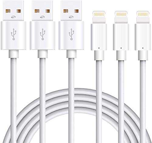 Marchpower Charger Cable Charging Cables USB Charger Cord 3PACK 6FT Compatible with iPhone 12 11 Pro Max SE(2020) Xs XR X 8 7 7 Plus 6s 6s 6 6 Plus 5 5S 5C SE iPad iPod (White) 6ft