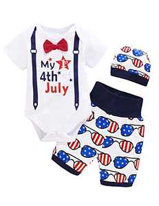 Dramiposs Baby Boys My 1st 4th of July Outfit Toddler American Flag Short Set with Hat (White,12-18 Months)