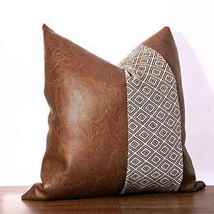 cygnus Faux Leather and Cotton Woven Diamond Textured Throw Pillow Covers Boho Decorative Modern Geometric Farmhouse Cushion Cover for Couch Sofa Bed 18x18 inch,Coffee