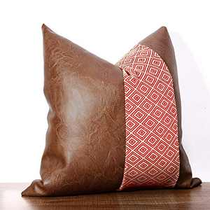cygnus Faux Leather and Cotton Woven Diamond Textured Throw Pillow Covers Boho Decorative Modern Geometric Farmhouse Cushion Cover for Couch Sofa Bed 18x18 inch,Red
