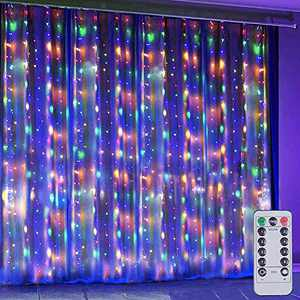 DIY Pattern Flexible 8 Modes 300LED Multicolor Copper Wire Curtain Lights, String Lights with Remote, Window and Wall Decorations for Christmas, Room, Party, Garden