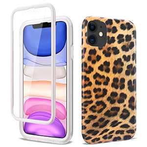 """Ballaber iPhone 11 Case, Full-Body Built-in Screen Protector Slim Stylish Protective Case Hard PC Soft TPU Bumper Rubber Double Protection Case for Apple iPhone 11 6.1"""" (Leopard Print)"""