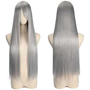 YOGFIT Lina Women's Long Straight Costume Wig with Bangs for Halloween Cosplay Party (32 inch, Silver Gray)