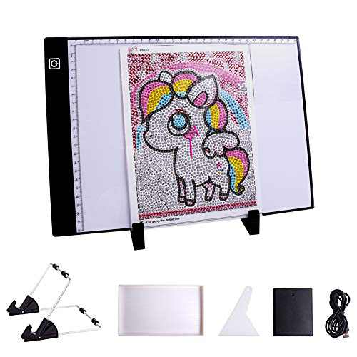 MACTING Diamond Painting A4 Pad, 47Pcs Diamond Painting Accessories Tracer Pad with Stand, USB Cable for Artists Drawing